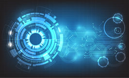 盘旋高科技抽象背景传染媒介,与各种各样的技术元素的数字式事务 免版税库存照片