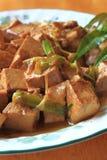 盘油煎的豆腐 免版税库存照片