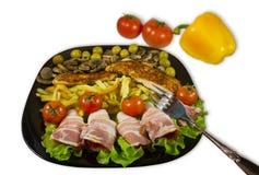 盘用各种各样的食物 免版税图库摄影
