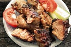 盘用肉和菜 免版税图库摄影