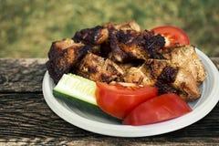 盘用肉和菜 免版税库存照片