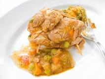 盘肉肉卷汤菜白色 库存照片