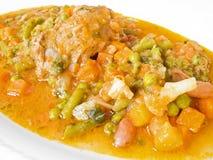 盘肉肉卷汤菜白色 库存图片