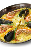 盘肉菜饭米西班牙语 库存照片