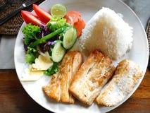 盘鱼沙拉端蔬菜 免版税库存图片