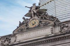 盛大中央终端,纽约门面的细节  免版税库存图片