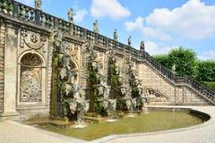 盛大小瀑布在Herrenhausen庭院,巴洛克式的庭院, esta里 库存图片