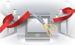 盛大开幕式传染媒介例证,与红色丝带的背景 库存照片