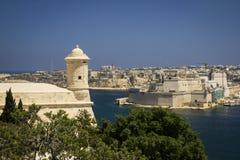 盛大港口和堡垒在瓦莱塔,马耳他 免版税库存照片