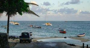 盛大白鹅,毛里求斯海景  免版税库存图片
