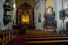 盛大老历史的教会在林茨,奥地利 免版税库存照片