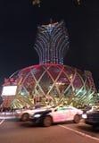 盛大里斯本赌博娱乐场和旅馆在澳门在夜之前 库存图片
