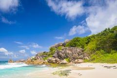 盛大Anse海滩,塞舌尔群岛 免版税库存照片