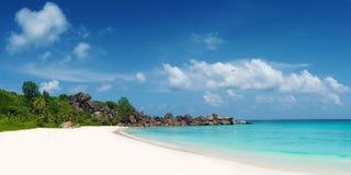 盛大anse海滩la digue海岛塞舌尔群岛 图库摄影