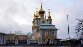 盛大Peterhof宫殿的彼得和保罗教会 股票视频