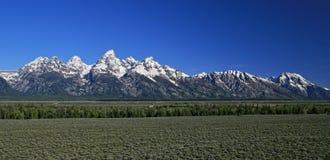 盛大Tetons山脉在春天/夏天在怀俄明 免版税库存图片
