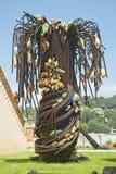 盛开的玻璃棕榈树, Biot,法国 免版税库存照片