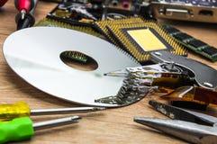 盛肉盘、驱动杆和轴与作动器在个人计算机服务 免版税图库摄影
