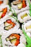 盛肉盘寿司 免版税图库摄影
