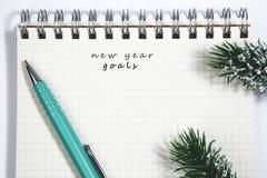 目标、笔记本和绿色笔与针叶树分支 免版税库存图片