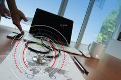目标焦点数字式图和图表的概念连接机智 免版税图库摄影