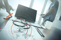 目标焦点数字式图和图表的概念连接机智 免版税库存图片