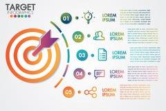 目标infographics 5步或选择业务设计传染媒介和营销与象 能为介绍,横幅使用 向量例证