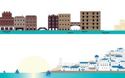 目的地场面著名地方威尼斯和圣托里尼风景 免版税库存照片