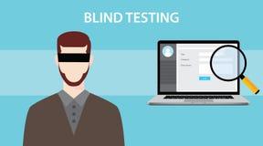 盲目试验与使用眼睛盖子的一个笔记本、放大镜和人的测试例证 免版税库存照片