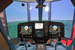 直升机模拟程序Cabine  免版税库存照片