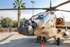 直升机波音AH-64A贝登省亚帕基在以色列人空军队博物馆显示了 图库摄影