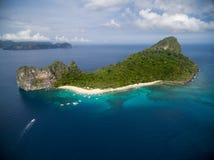 直升机海岛和海滩在El Nido,巴拉望岛,菲律宾 游览C路线和观光的地方 库存图片