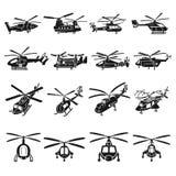 直升机象集合,简单的样式 库存例证