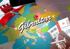 直布罗陀旅行概念与飞机,票的地图背景 vi 库存例证