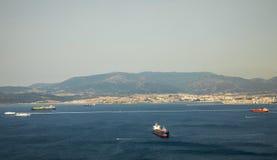 直布罗陀海峡从山的上面的视图 库存照片