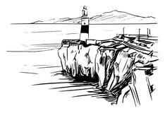 直布罗陀海峡从欧罗巴点的 库存例证