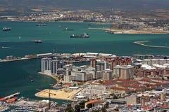 直布罗陀港口城镇视图 免版税库存照片
