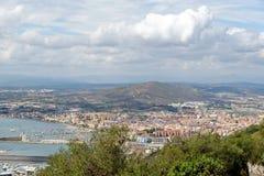 直布罗陀的海湾,看见从直布罗陀的岩石 免版税库存照片