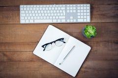 直接地上面日志和镜片射击与笔的由键盘的 免版税库存照片