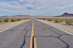 直路在沙漠 库存照片