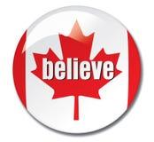 相信按钮加拿大 库存图片