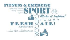 相关的体育,健身,室外诱导文本 水平和垂直的对准线 图库摄影