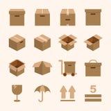 相关的箱子和包装 免版税库存图片