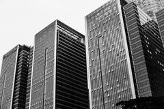 相同摩天大楼黑白照片  免版税库存图片
