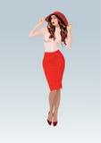相当一条红色裙子的女孩 免版税库存图片