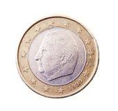相当一欧元价值的硬币 库存照片