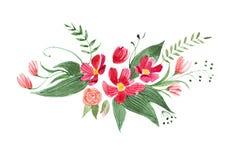 相当一点花束水彩画图画被隔绝的由各种各样的红色,紫色和桃红色花和叶子制成在白色 免版税库存图片