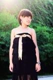 相当中国女孩公园 图库摄影