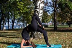 相当亭亭玉立的女孩在公园做瑜伽 它应该在桥梁通过举腿 免版税库存图片