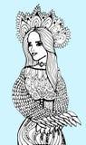 相当典雅的女孩,花卉花圈 成人的彩图页 抽象艺术品背景几何向量 手拉的女孩画象 库存图片